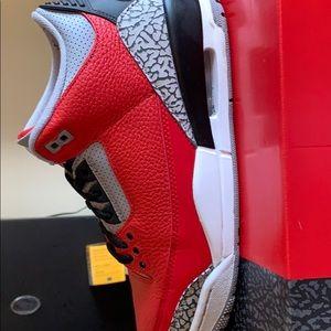 Jordan 3's red white and black